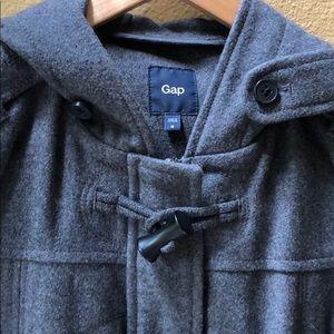 Gap gray wool duffle  pea hooded coat medium
